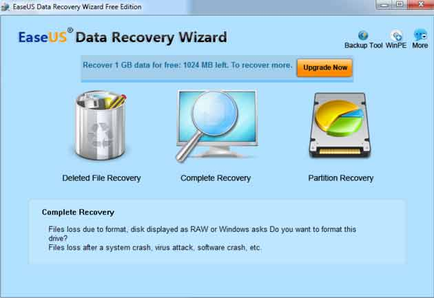 phần mềm EaseUS Data Recovery Wizard Free Edition
